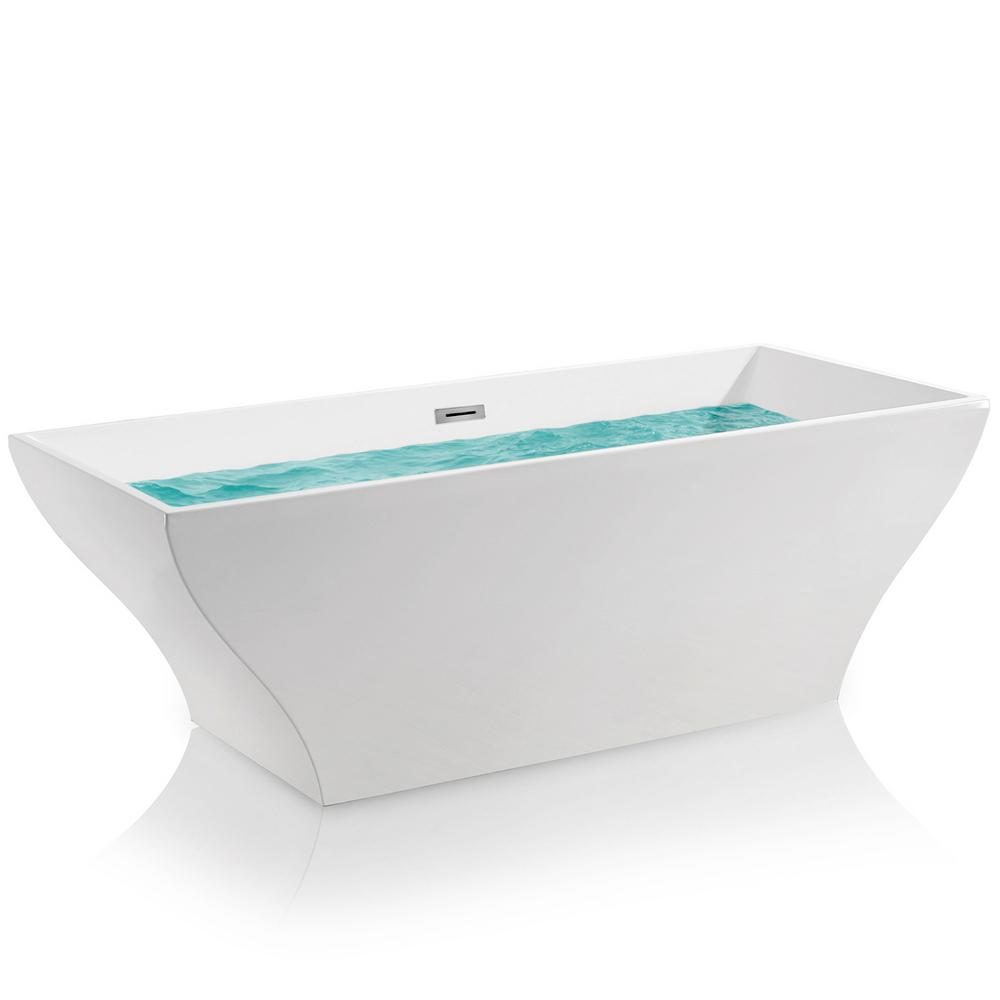 Acrylic Center Drain Rectangular Double Ended Flatbottom Freestanding  Bathtub In White