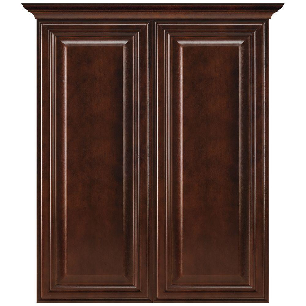 MasterBath Raised Panel 24 in. W Bath Storage Cabinet in Java