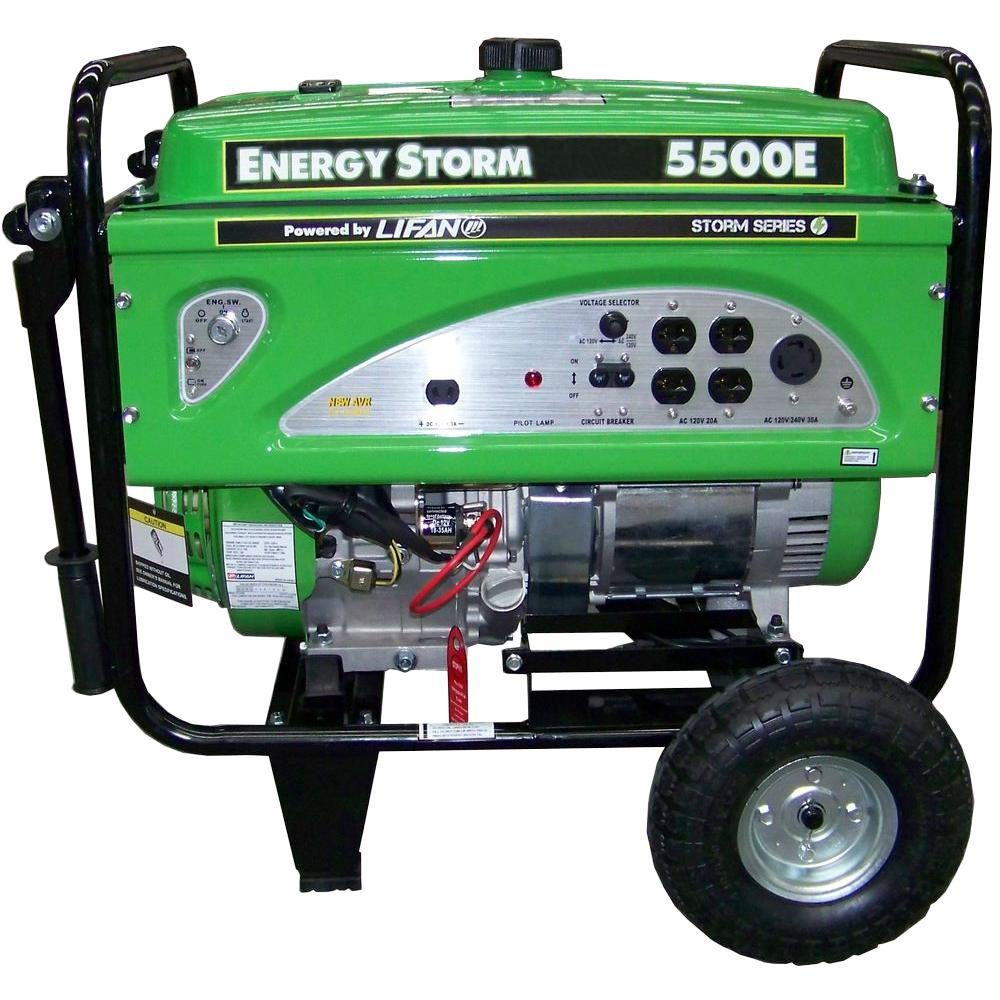 LIFAN 5,600-Watt Energy Storm 337cc Portable Generator with Wheel Kit and Electric/Recoil Start
