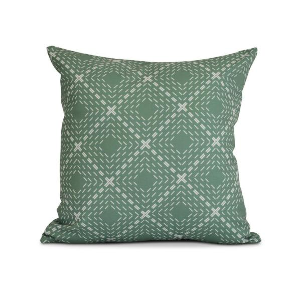 16 in. Green Dots and Dashes Geometric Print Pillow PG820GR13-16