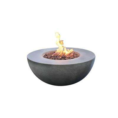 Roca 34 in. x 34 in. Grey Round Concrete Propane Fire Pit Table with Electronic Ignition Cover and Lava Rock