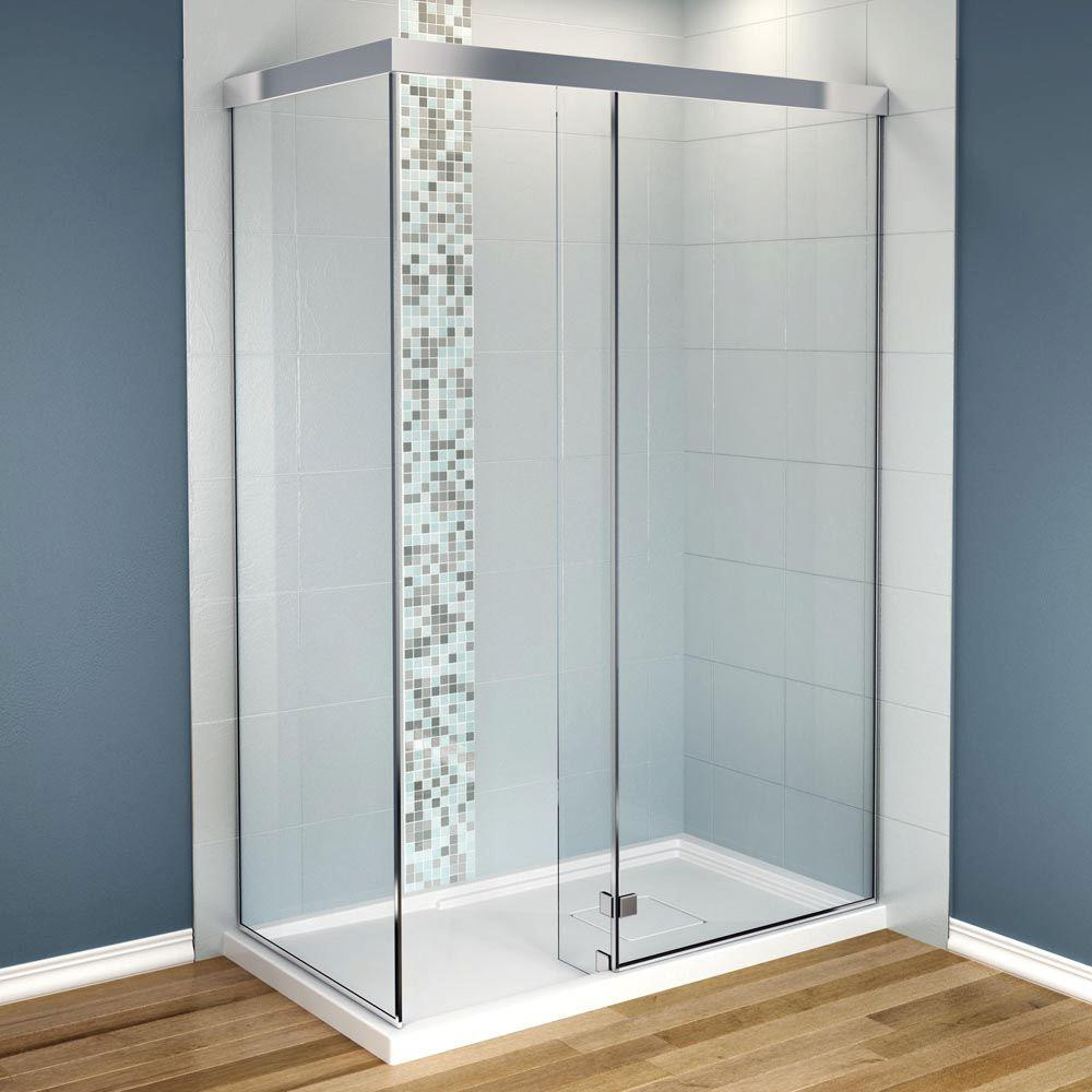 MAAX Influence 34 in. x 60 in. x 88 in. Standard Fit Corner Shower Kit with Clear Glass in Chrome