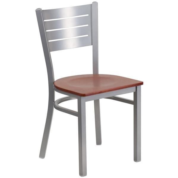 Flash Furniture Hercules Cherry Wood Seat/Silver Frame Side Chair XUDG60401CHYW