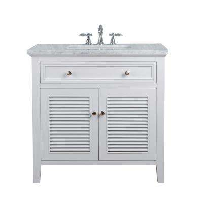 36 in. Genevieve Single Sink Vanity in White with Marble Vanity Top in Carrara with White Basin