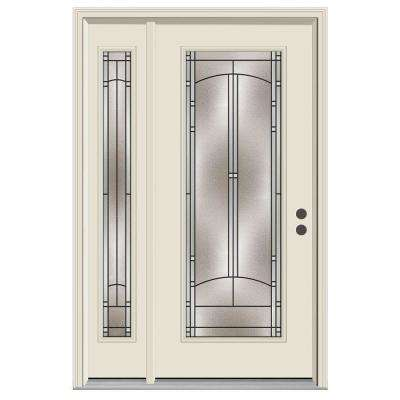 50 in. x 80 in. Full Lite Idlewild Primed Steel Prehung Left-Hand Inswing Front Door with Right-Hand Sidelite