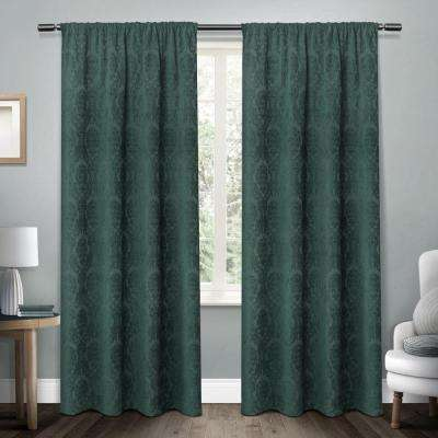 Damask Teal Chenille Heavyweight Jacquard Medallion Rod Pocket Top Window Curtain