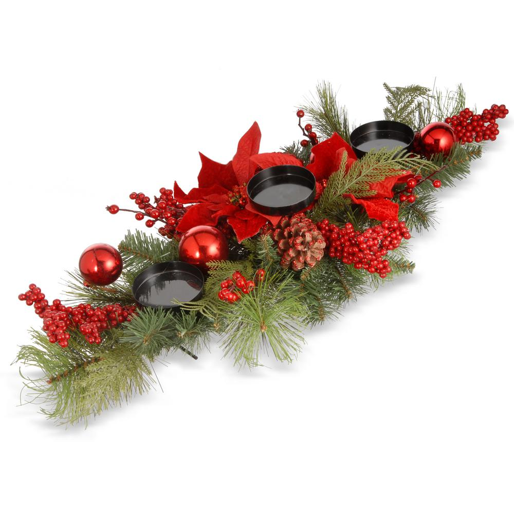 National Tree Company 28 in. Christmas Candleholder Centerpiece-RAC ...