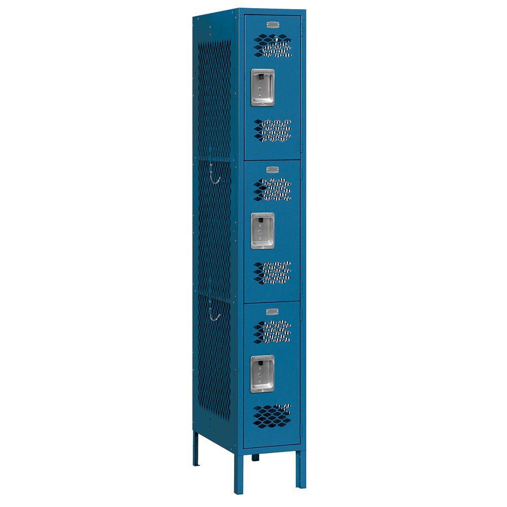 73000 Series 12 in. W x 78 in. H x 18 in. D 3-Tier Vented Metal Locker Assembled in Blue