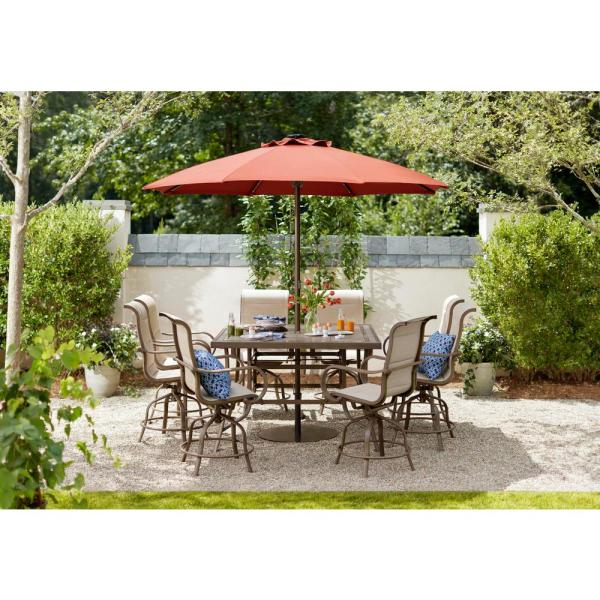Led Round Offset Outdoor Patio Umbrella