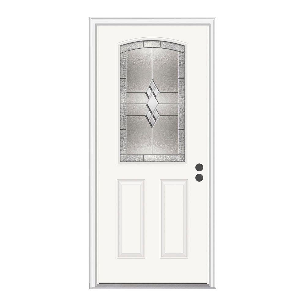 36 in. x 80 in. Kingston Primed Left-Hand Inswing 1/2 Lite Decorative Steel Prehung Front Door w/Brickmould