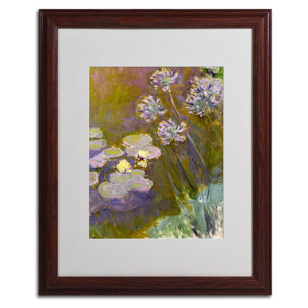 Trademark Fine Art 16 in. x 20 in. Waterlilies and Agapanthus Matted Brown Framed Wall Art