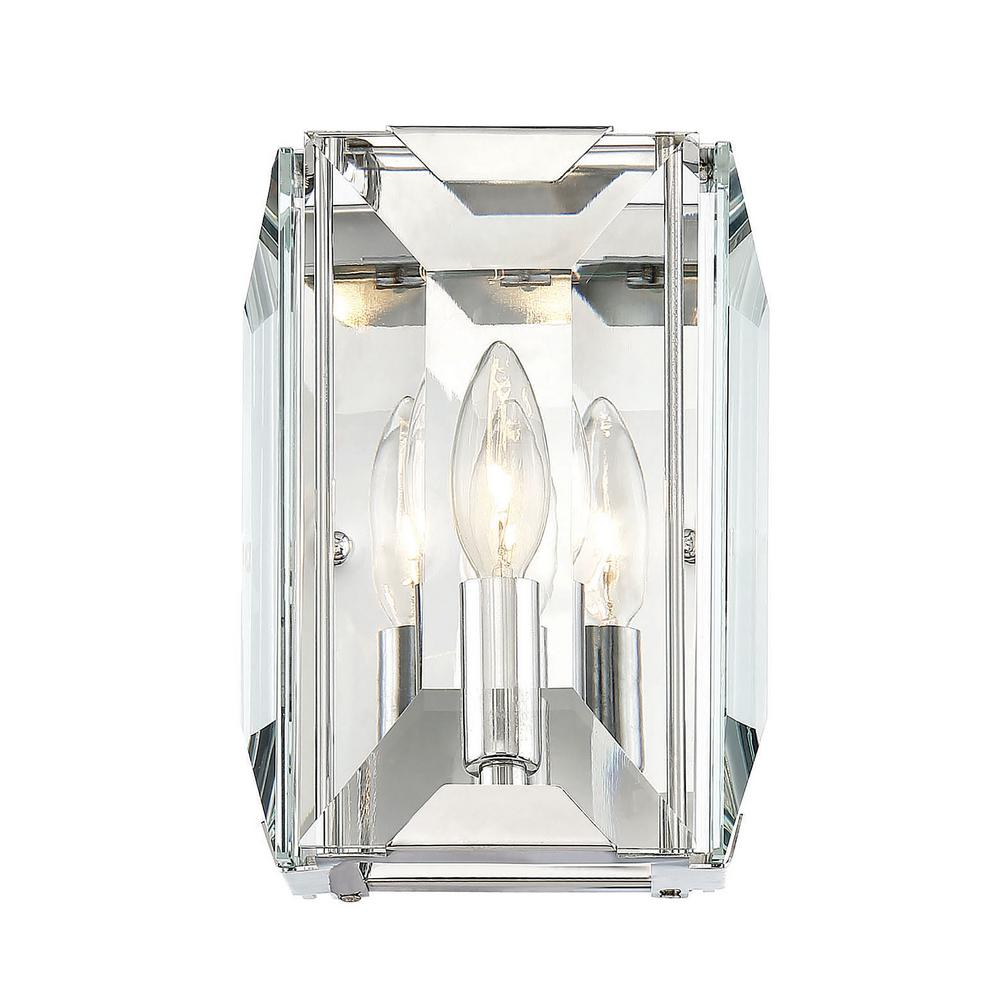 1-Light Polished Chrome Sconce with and Clear Crystal Accents