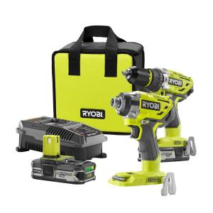 Ryobi 18-Volt ONE+ Cordless Lithium-Ion Brushless Hammer Drill and Impact Driver 2- Tool Combo Kit by Ryobi
