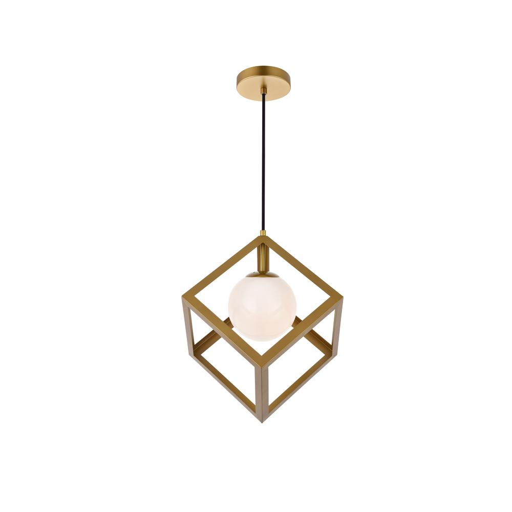 Timeless Home Lyric 1-Light Pendant in Brass with 6.3 in. W x 6.3 in. H Frosted White Shade