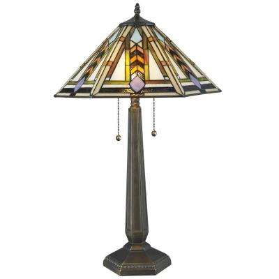 Tiffany GeoHex 25 in. Bronze Table Lamp