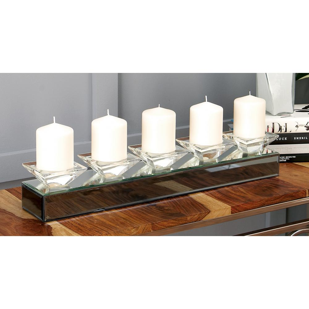 24 in. Gray Mirrored 5-Votive Candle Holder