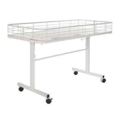 48 in. D x 24 in. W x 31 in. H White Metal Grid 4-Wheeled Folding Storage Table