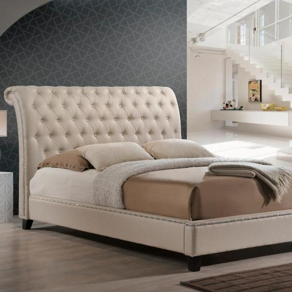 Jazmin Transitional Beige Fabric Upholstered King Size Bed