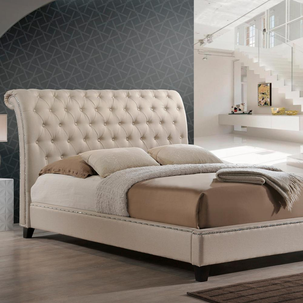 Jazmin Transitional Beige Fabric Upholstered Queen Size Bed