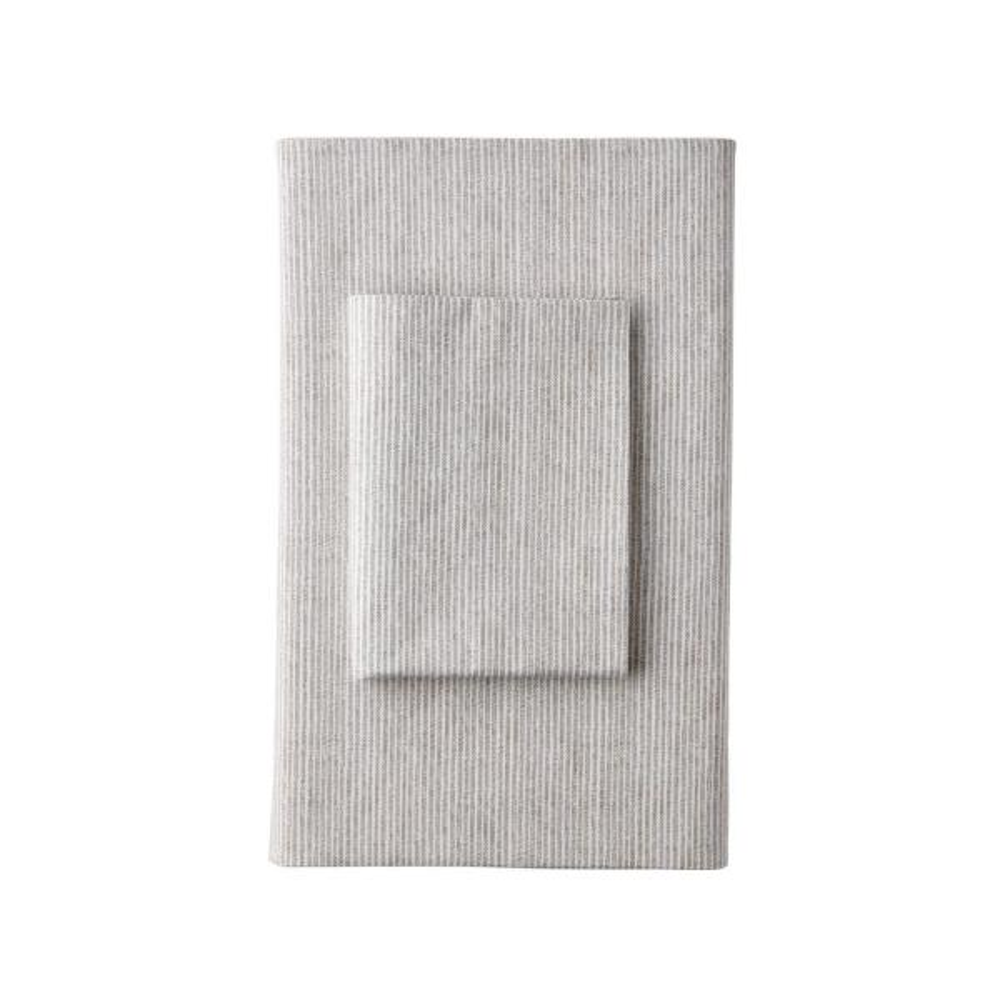 The Company Store Larkin Stripe Organic Taupe 300-Thread Count Cotton Percale