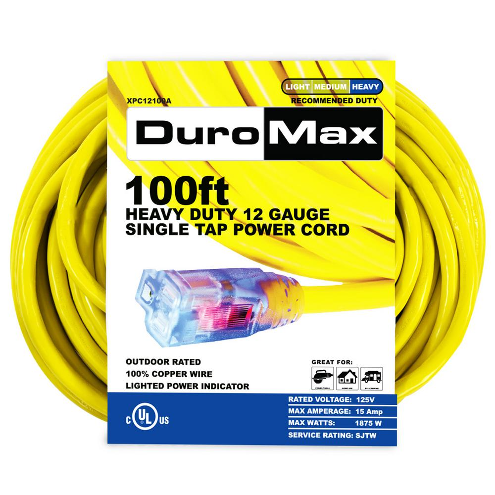 XPC12100A 100 ft. 12/3 Gauge Single Tap Extension Power Cord