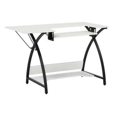 Comet Collection 45.5 in. W x 23.5 in. D PB Craft Sewing Table in White with Black Frame