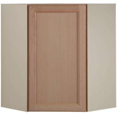 Easthaven Shaker Assembled 23.64 in. x 30 in. x 23.64 in. Frameless Corner Wall Cabinet in Unfinished Beech