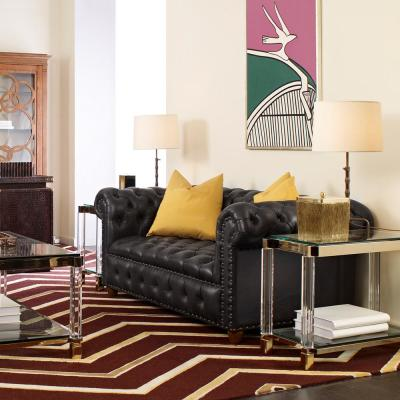Baron 38.6 in. Rich Brown Leather 3-Seater Chesterfield Sofa with Nailheads