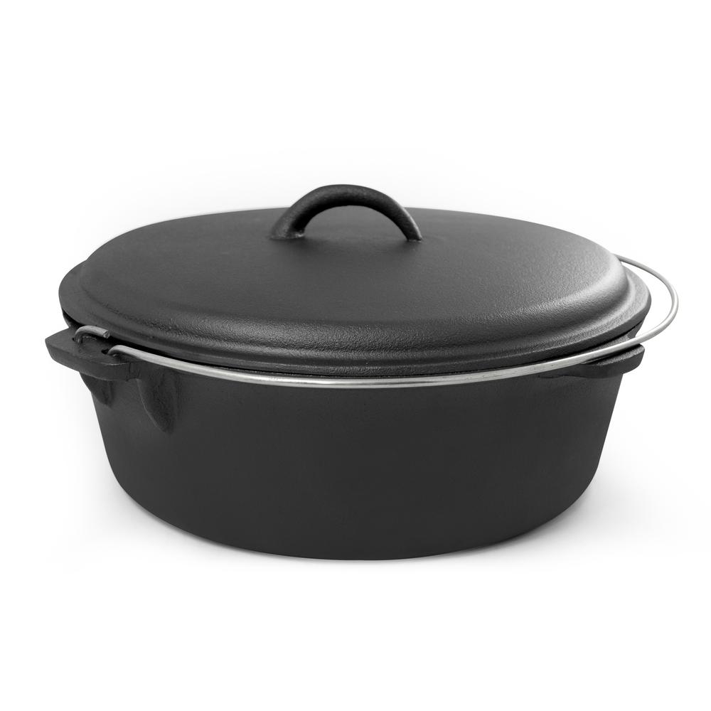 Round Cast Iron Dutch Oven in Black with Lid 6 qt