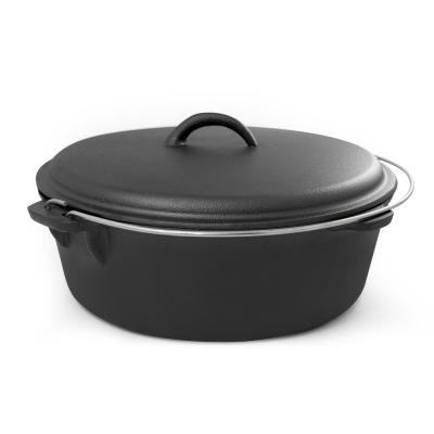 6 qt. Round Cast Iron Dutch Oven in Black with Lid
