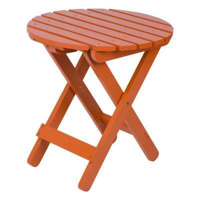 Rust Adirondack Round Folding Outdoor Side Table