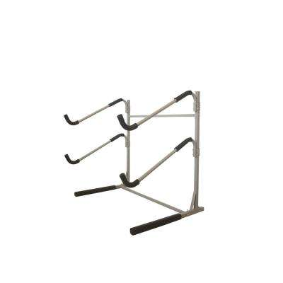 Sparehand Freestanding Dual Storage Rack for 2 SUPs or Surfboards, Tools-Free Assembly, Pebble Silver Finish