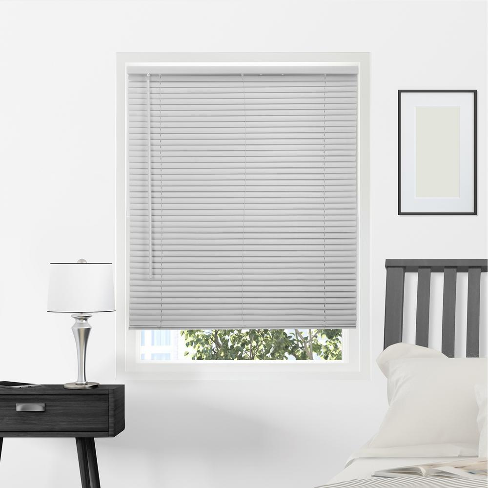 Gloss Gray Cordless 1 in. Vinyl Mini Blind - 32 in.
