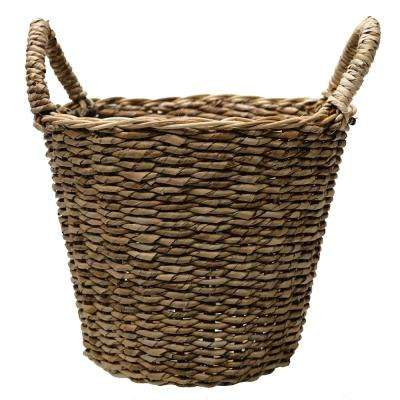 12.5 in. Dia Seagrass Basket Planter in a natural finish with Plastic Liner