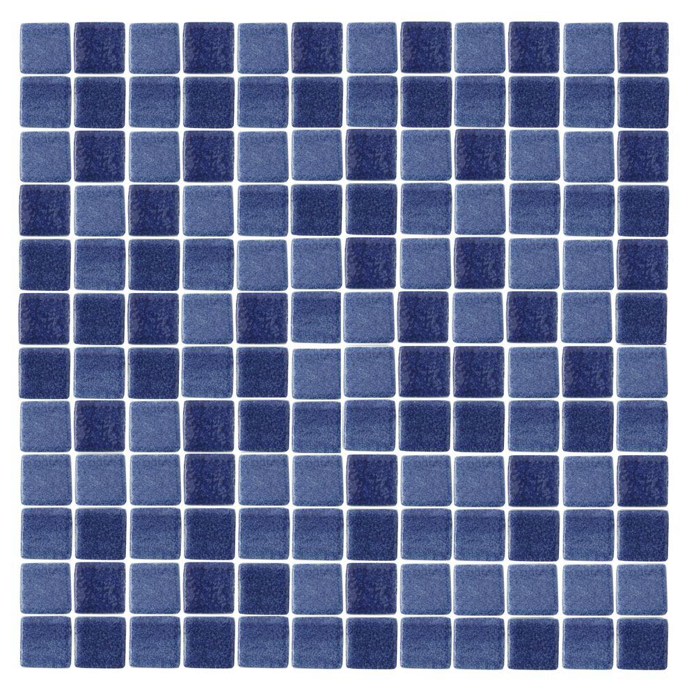 Tile samples for bathroom - Epoch Architectural Surfaces Spongez S Dark Blue 1411 Mosiac Recycled Glass Mesh Mounted Floor And Wall Tile 3 In X 3 In Tile Sample S Dark Blue Sample