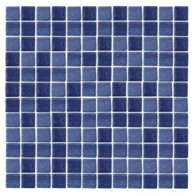 Spongez S-Dark Blue-1411 Mosiac Recycled Glass Mesh Mounted Floor and Wall Tile - 3 in. x 3 in. Tile Sample