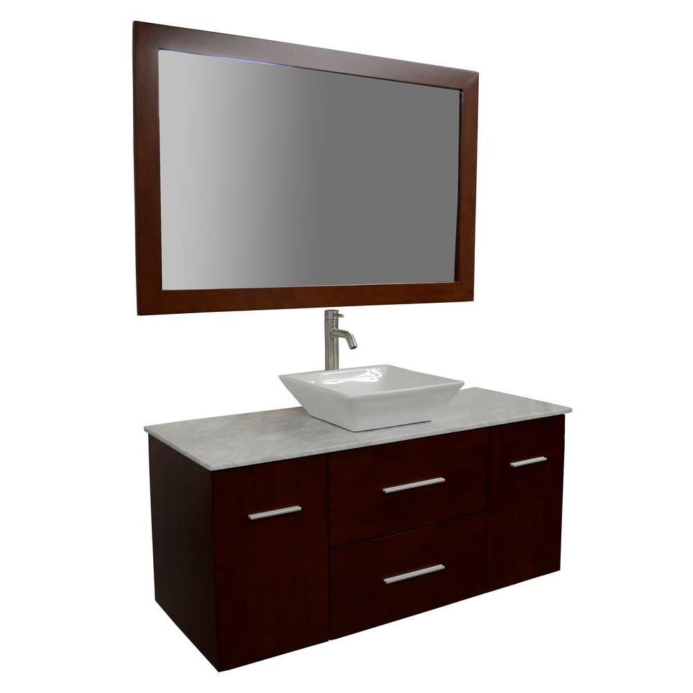 KBD Designs Amanda 48 in. Bath Vanity in Cherry with Carrara Marble Vanity Top in White with White Basin and Mirror