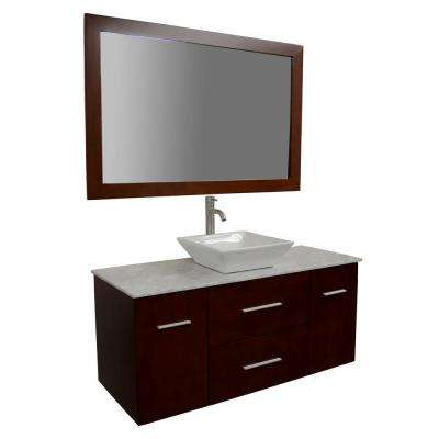 Amanda 48 in. Bath Vanity in Cherry with Carrara Marble Vanity Top in White with White Basin and Mirror