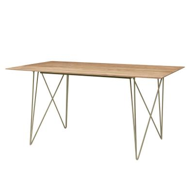 Delavan Pecan Brown Finish Rectangular Dining Table for 6 with Golden Metal Hair Pin Base (63 in. L x 29.92 in. H)