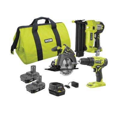 18-Volt ONE+ Lithium-Ion Cordless 2-Tool Combo Kit with Drill/Driver, Circular Saw, AirStrike 18-Gauge Brad Nailer