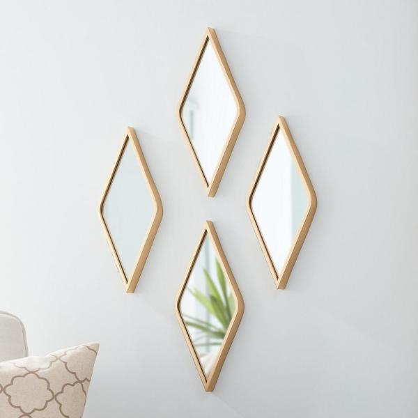 Stylewell Small Diamond Gold Classic Accent Mirror 15 In H X 7 In W 18mje2747 The Home Depot