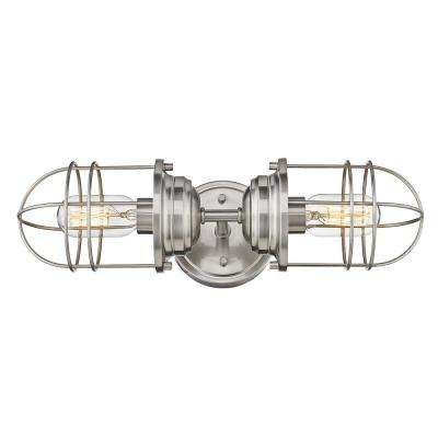 Seaport 4.625 in. 2-Light Pewter Sconce