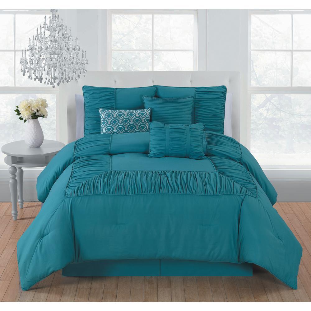 Bedroom Bedside Lamps Bedroom Colors Grey Purple Bedroom Carpet Reviews Bedroom Ideas Hotel Style: Jules 7-Piece Teal King Comforter Set 17-4919 TPX