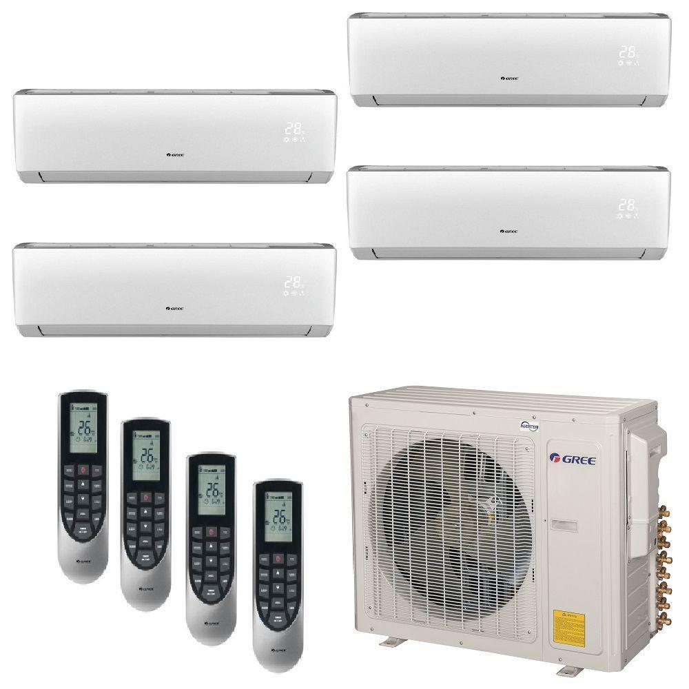 Gree Multi 21 Zone 30 000 Btu 2 5 Ton Ductless Mini Split Air Conditioner With Heat Inverter Remote 208 230 Volt 60hz Multi30hp402 The Home Depot