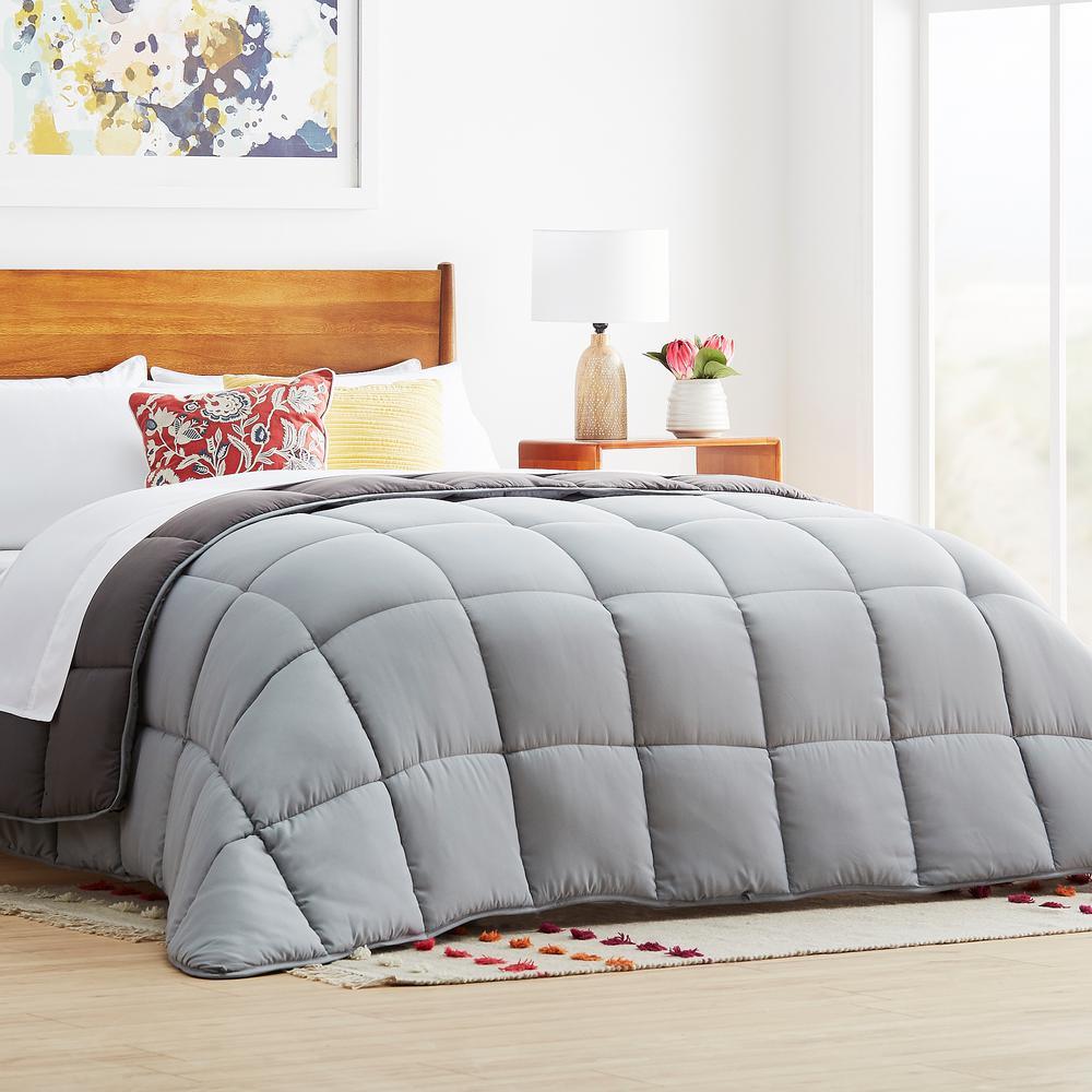 linenspa stone charcoal oversized king down alternative microfiber comforter hd70okstccmico. Black Bedroom Furniture Sets. Home Design Ideas