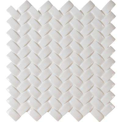 Whisper White Arched Herringbone 12 in. x 12 in. x 8mm Glazed Ceramic Mesh-Mounted Mosaic Tile (10 sq. ft. / case)