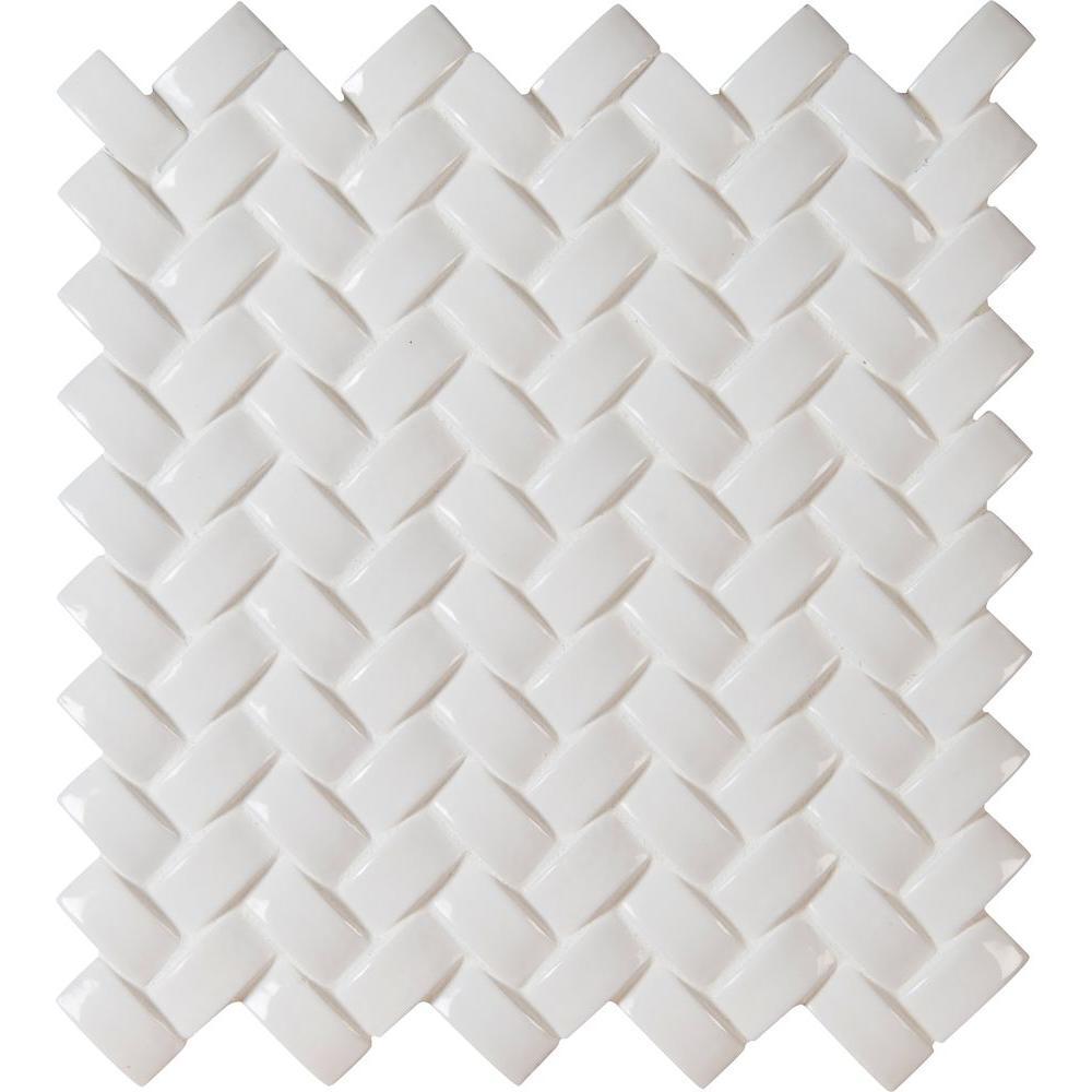 Whisper White Arched Herringbone 12 in. x 12 in. x 8 mm Glazed Ceramic Mesh-Mounted Mosaic Tile (10 sq. ft. / case)