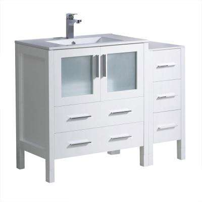 Torino 42 in. Bath Vanity in White with Ceramic Vanity Top in White with White Basin