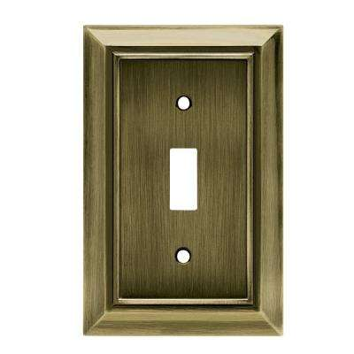Architectural Decorative Single Switch Plate, Antique Brass