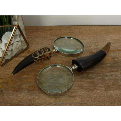 11 in. x 4 in. Decorative Brass and Water Buffalo Horn Magnifying Glass (2-Pack)